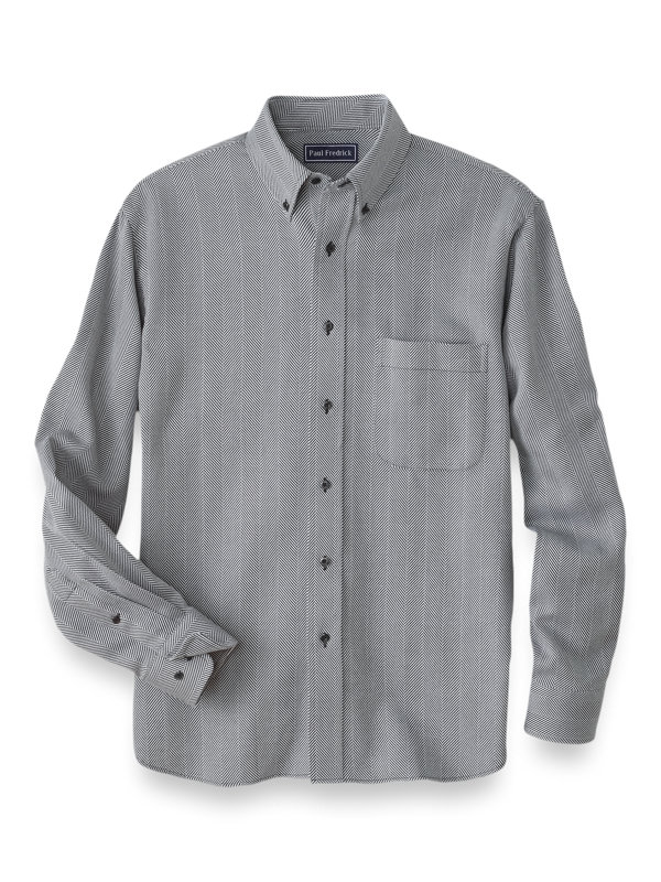 Cotton Cashmere Herringbone Casual Shirt