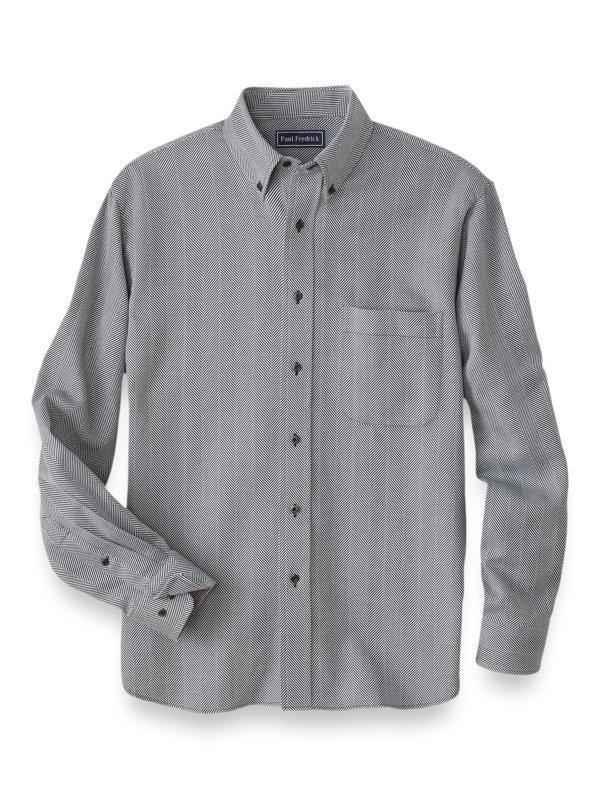 Cotton Cashmere Herringbone Casual Shirt