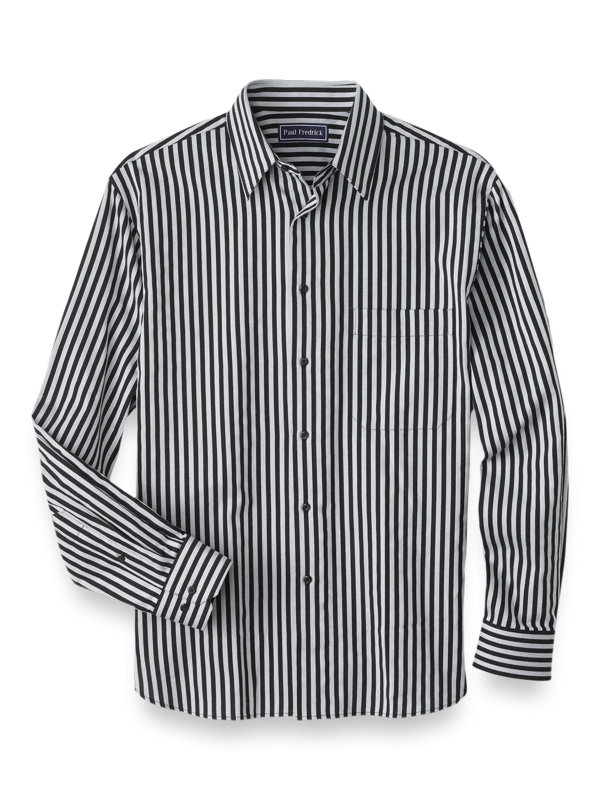 Slim Fit Cotton Cashmere Stripe Casual Shirt