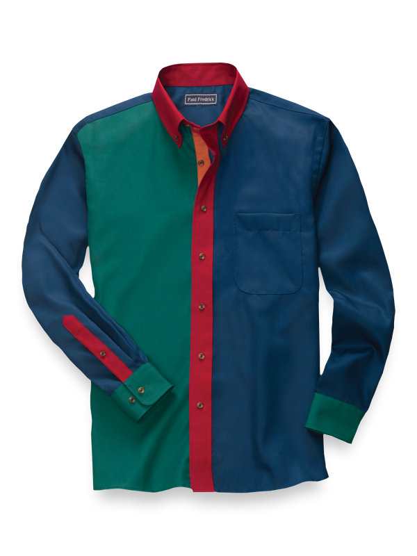 Slim Fit Easy Care Cotton Panel Solid Casual Shirt