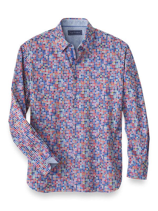 Slim Fit Cotton Multi Dot Casual Shirt