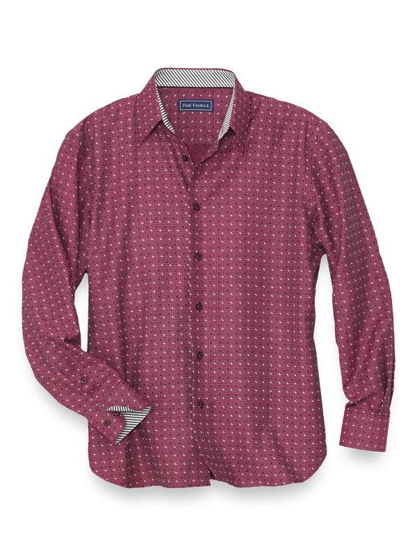 Slim Fit Cotton Paisley Dot Casual Shirt