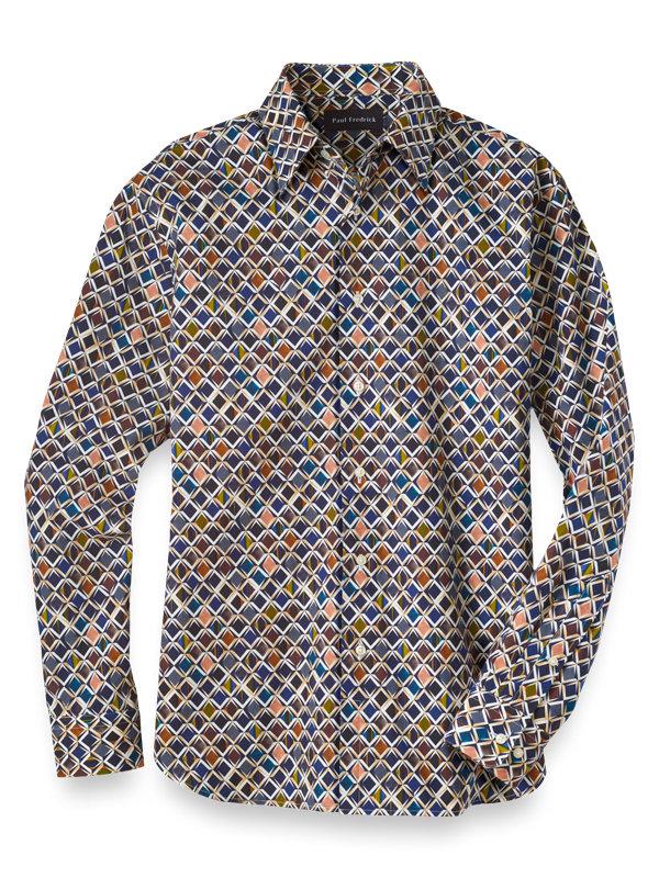 Cotton and Silk Diamond Print Casual Shirt