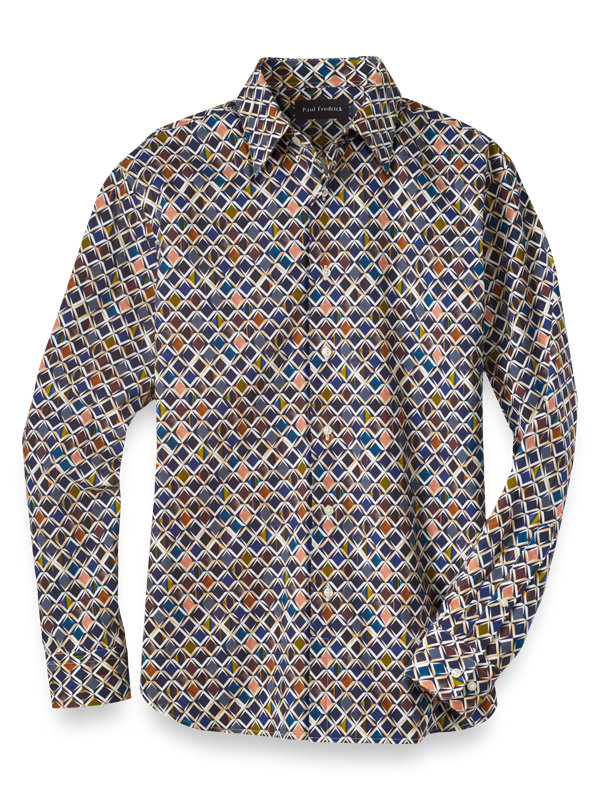 Slim Fit Cotton and Silk Diamond Print Casual Shirt