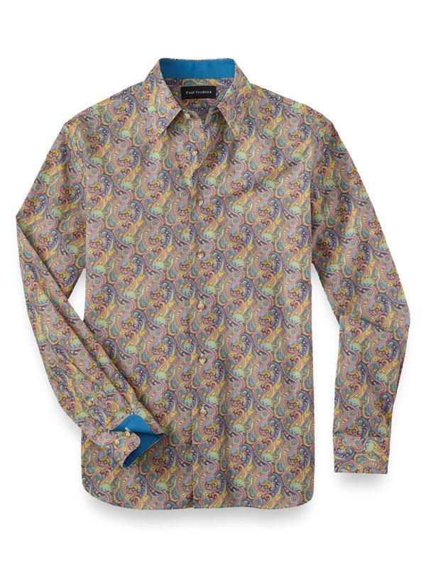 Cotton and Silk Paisley Print Casual Shirt