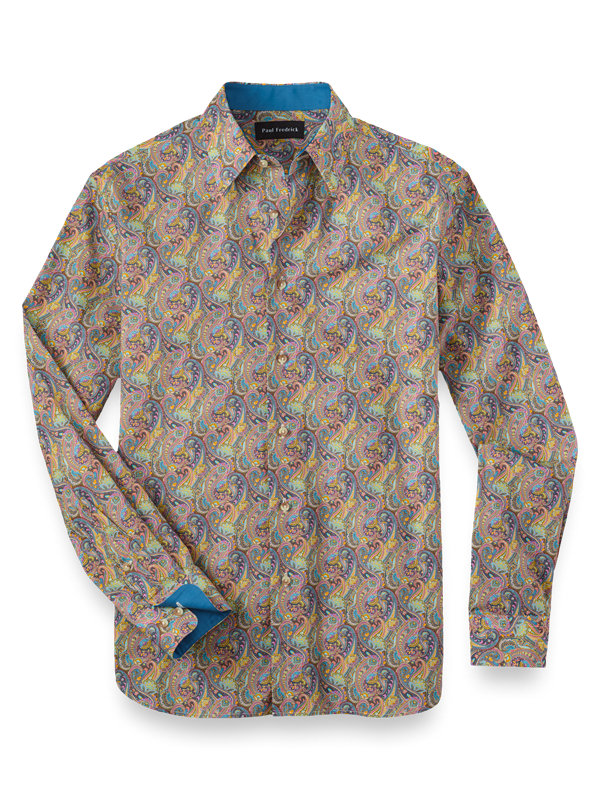 Slim Fit Cotton and Silk Paisley Print Casual Shirt