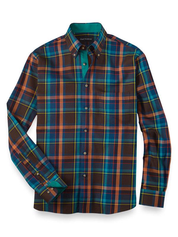 Slim Fit Cotton Tartan Casual Shirt
