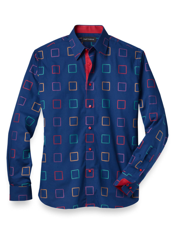 Slim Fit Cotton Floating Windowpane Casual Shirt