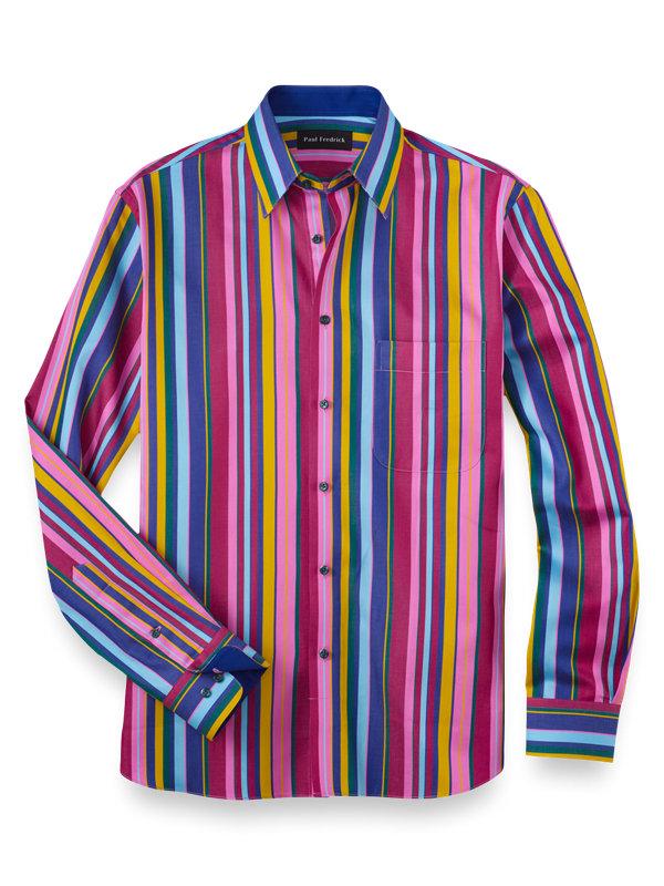 Cotton Alternating Stripes Casual Shirt
