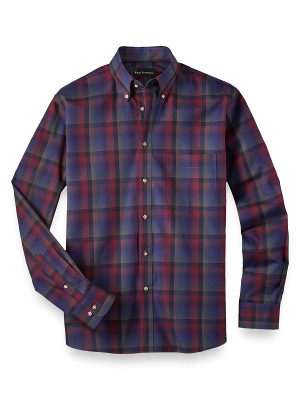Slim Fit Cotton Ombre Plaid Casual Shirt
