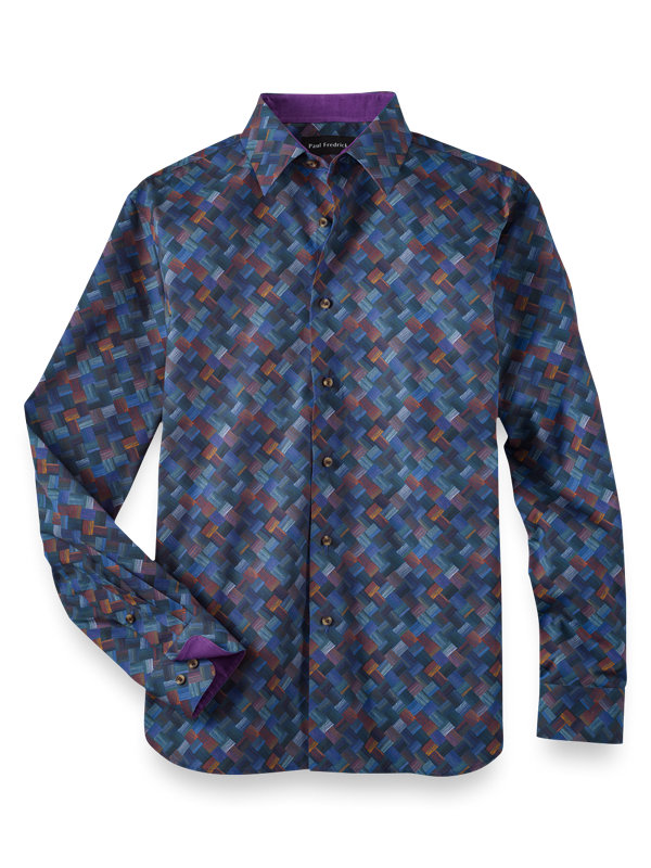 Slim Fit Cotton Basket Weave Print Casual Shirt