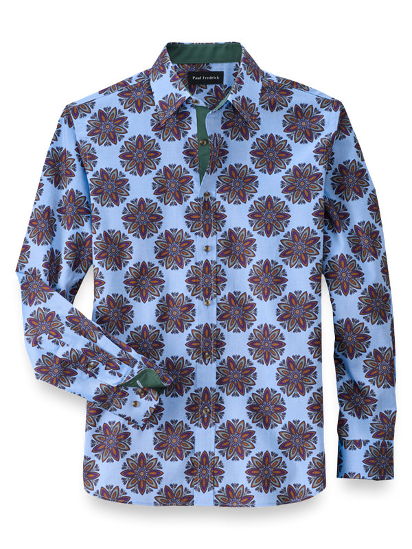 Slim Fit Cotton Floral Print Casual Shirt