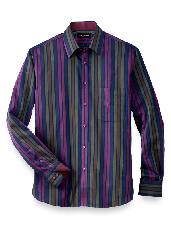 Slim Fit Cotton Alternating Stripes Casual Shirt