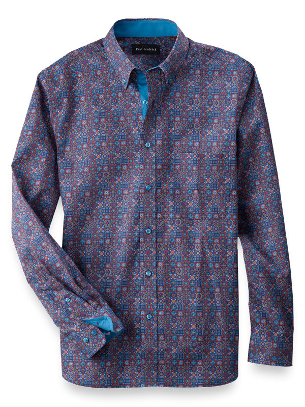 Slim Fit Cotton Tile Print Casual Shirt