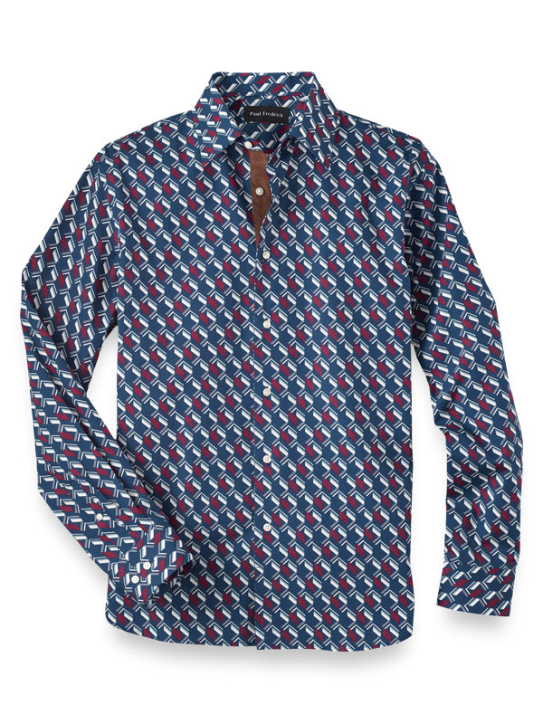 Cotton Silk Geometric Print Casual Shirt