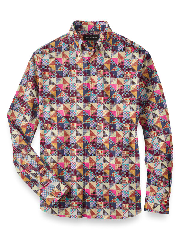 Slim Fit Cotton Patchwork Casual Shirt