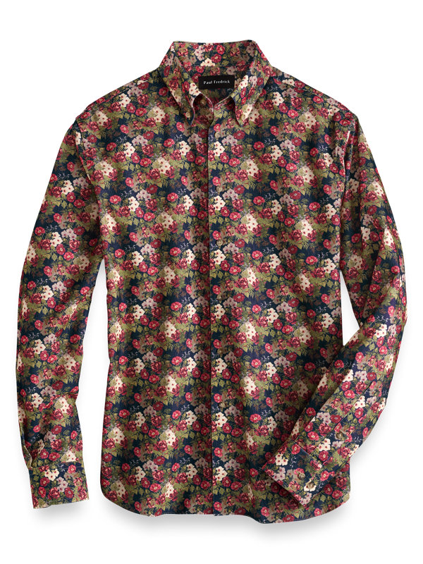 Slim Fit Cotton Floral Casual Shirt