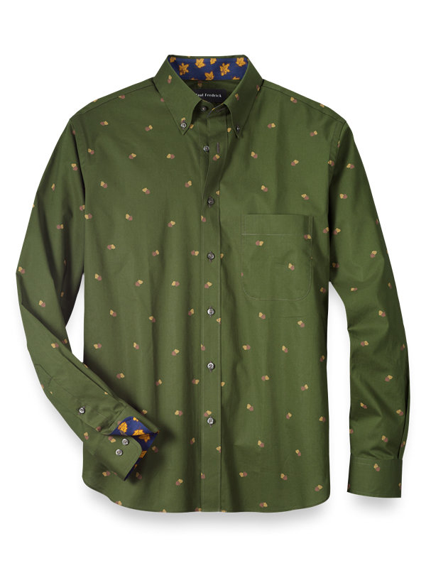 Slim Fit Cotton Pinecone Print Casual Shirt