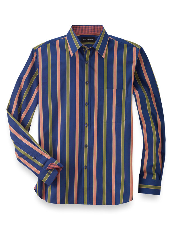 Slim Fit Cotton Wide Stripe Casual Shirt