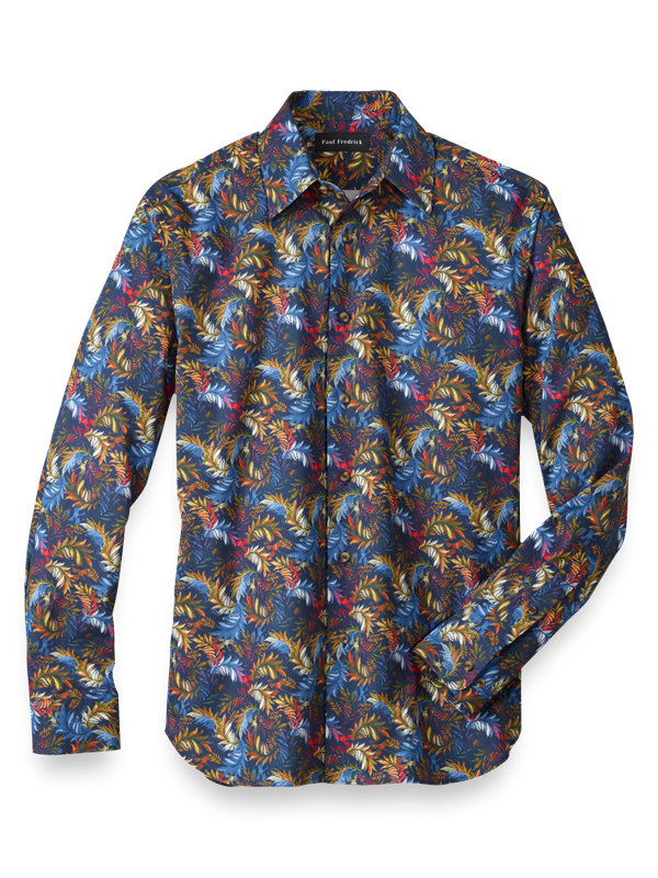 Slim Fit Cotton Botanical Batik Print Casual Shirt