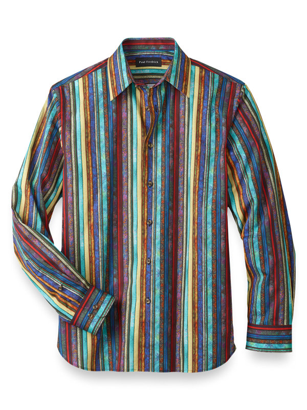 Slim Fit Cotton Batik Stripe Casual Shirt
