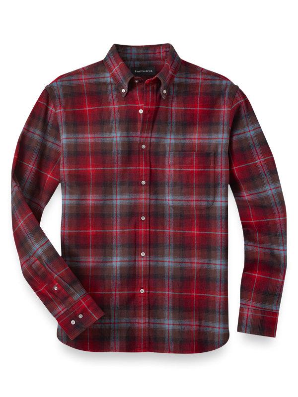 Slim Fit Cotton Flannel Plaid Casual Shirt