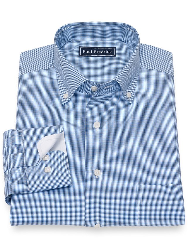 Slim Fit Cotton Mini Check Casual Shirt