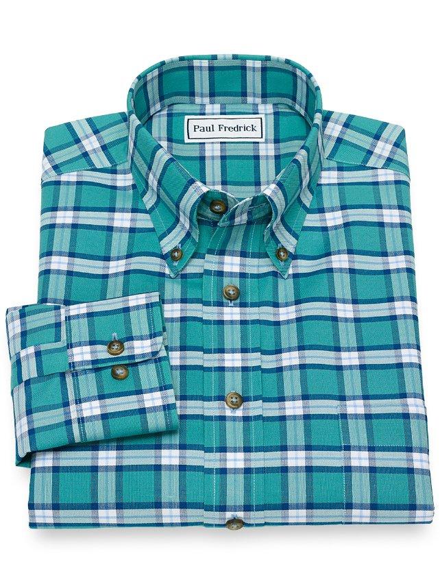 Slim Fit Non-Iron Supima Cotton Plaid Casual Shirt