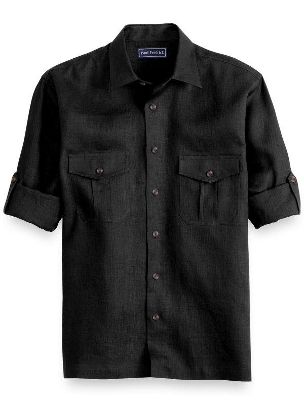 Slim Fit Linen Long Sleeve Casual Shirt