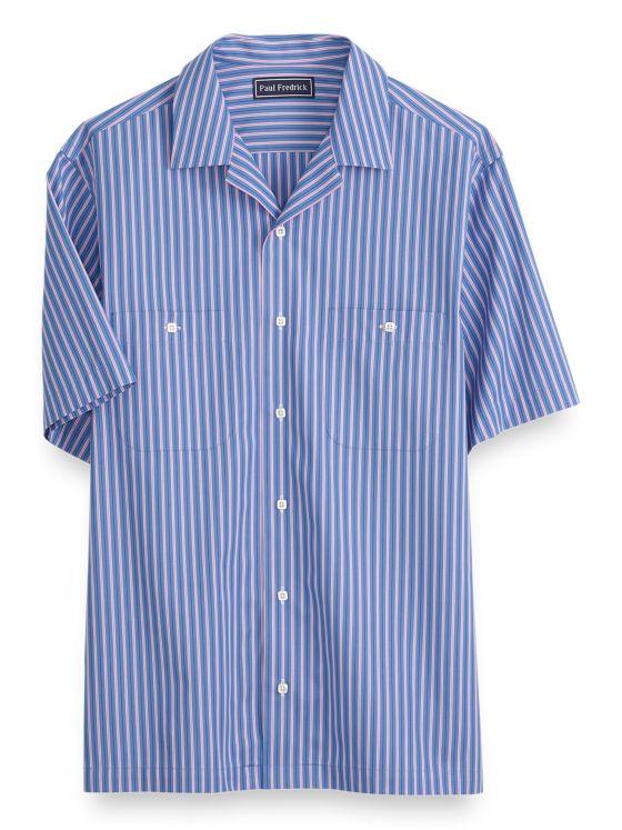 Cotton Stripe Short Sleeve Casual Shirt