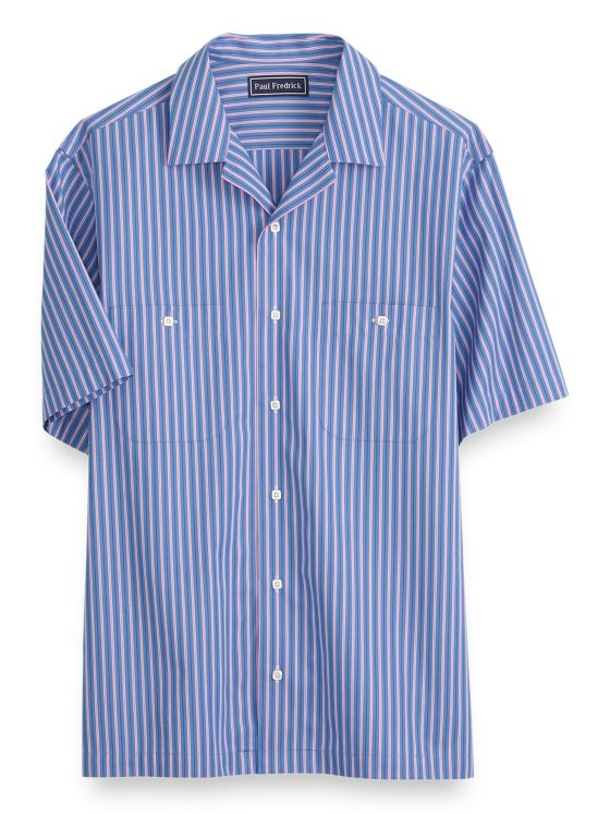 Slim Fit Cotton Stripe Short Sleeve Casual Shirt