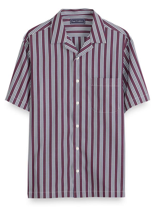 Slim Fit Cotton Stripe Short Sleeve Casual Shirt