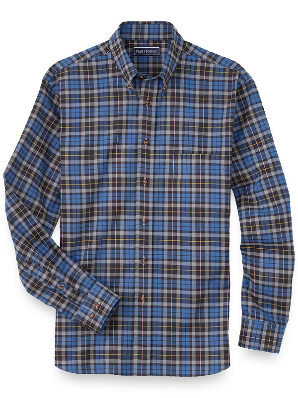 Slim Fit Cotton Plaid Casual Shirt