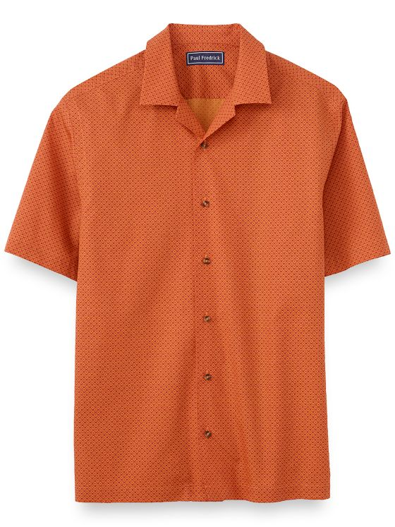Slim Fit Cotton Medallion Short Sleeve Casual Shirt