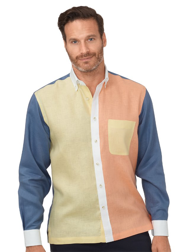 Slim Fit Linen Panel Casual Shirt