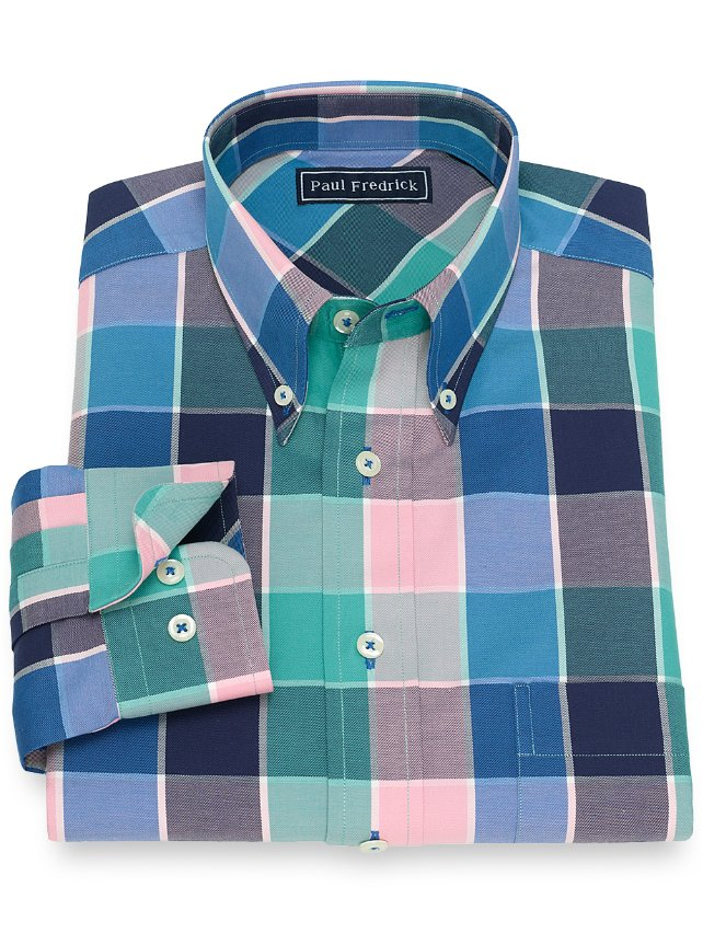 Slim Fit Cotton Buffalo Plaid Casual Shirt