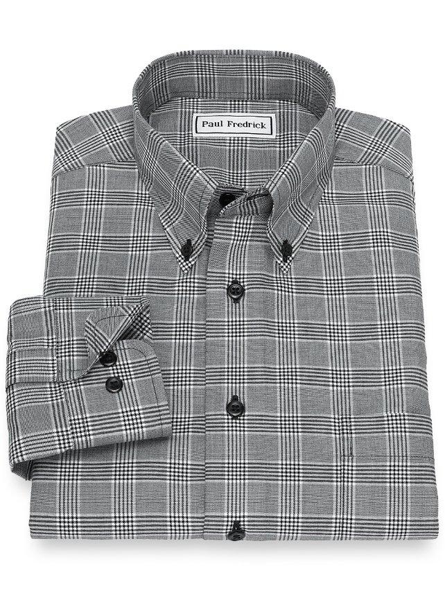 Slim Fit Non-Iron Cotton Glen Plaid Casual Shirt