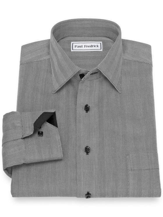 Slim Fit Non-Iron Cotton Herringbone Stripe Casual Shirt