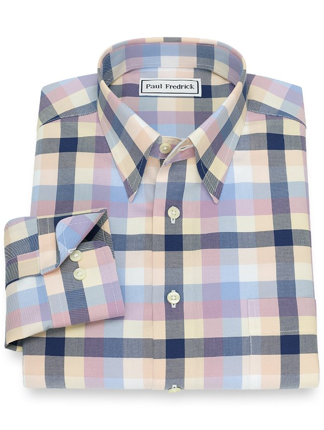Slim Fit Non-Iron Cotton Check Casual Shirt