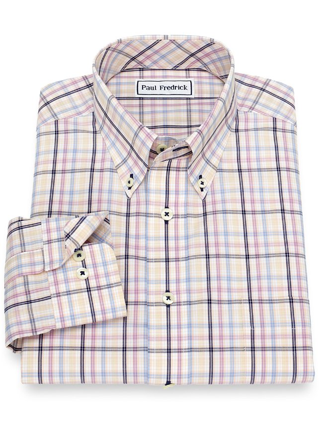 Non-Iron Cotton Plaid Casual Shirt