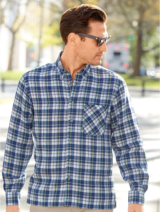 Non-Iron Impeccable Linen Plaid Casual Shirt