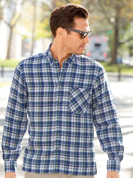 Non-Iron Impeccable Linen Plaid Casual Shirt
