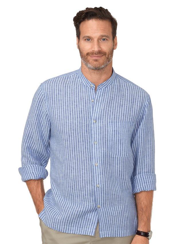 Slim Fit Non-Iron Impeccable Linen Stripe Casual Shirt