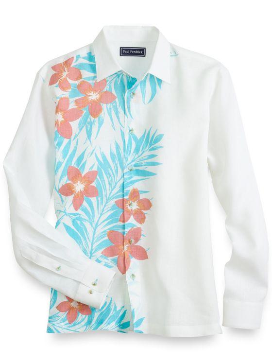 Slim Fit Linen Tropical Casual Shirt