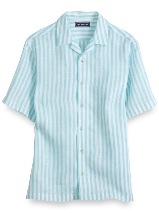 Slim Fit Linen Stripe Short Sleeve Casual Shirt