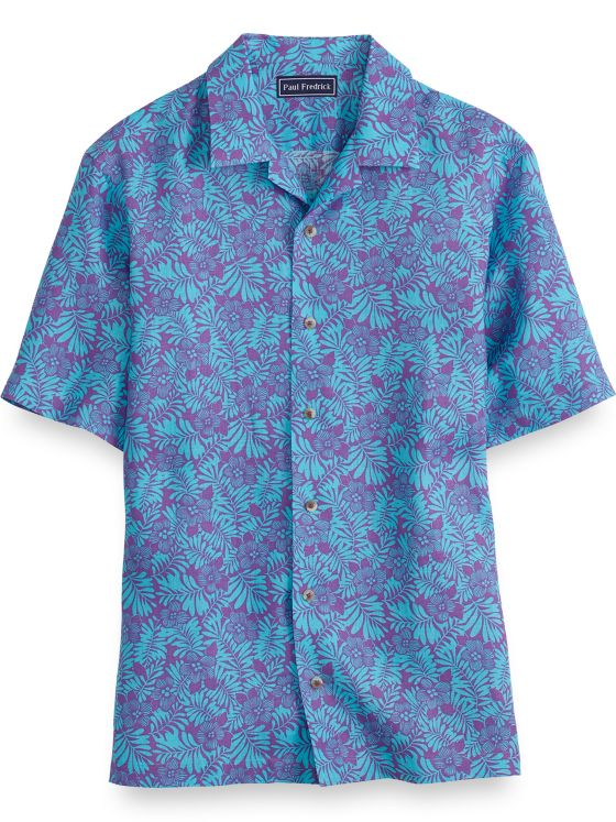 Slim Fit Linen Tropical Short Sleeve Casual Shirt