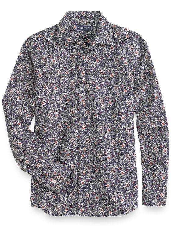 Slim Fit Cotton Floral Casual Shirt