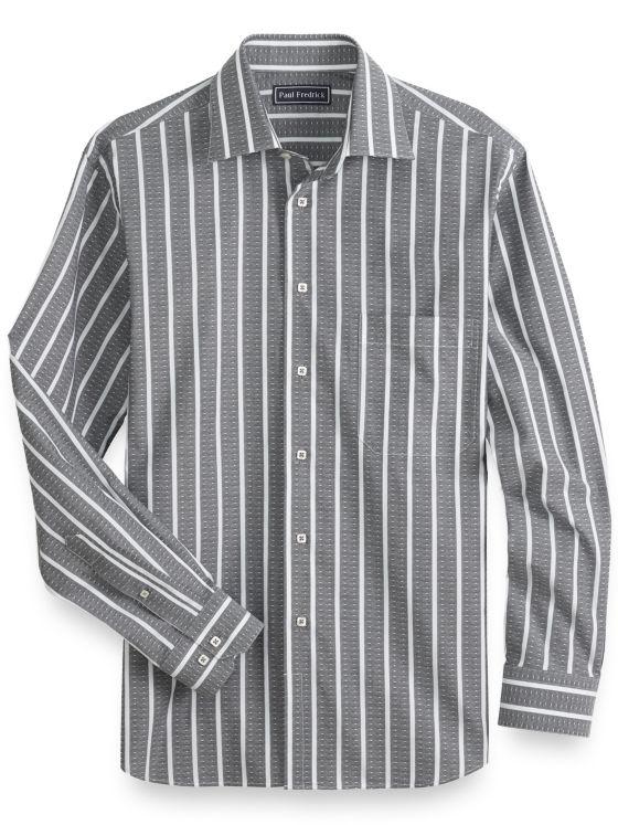Slim Fit Cotton Diamond Stripe Casual Shirt