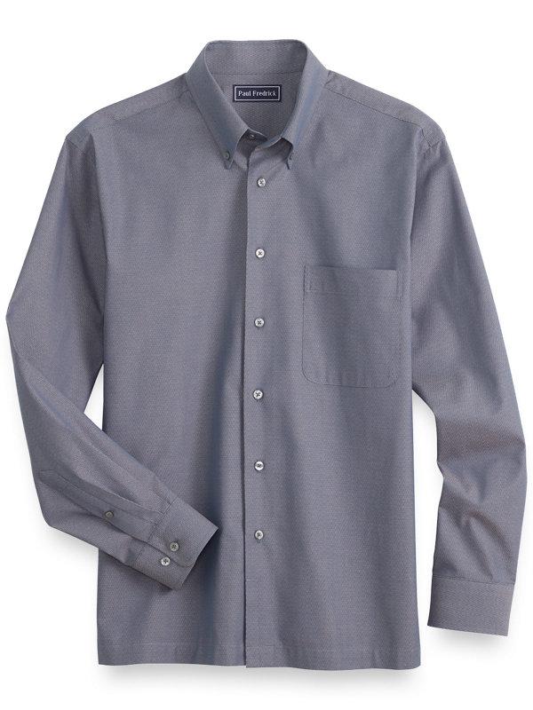 Slim Fit Cotton Herringbone Casual Shirt