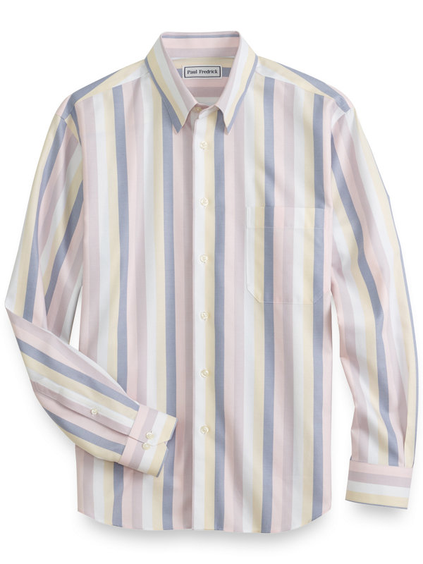Slim Fit Non Iron Cotton Herringbone Stripe Casual Shirt